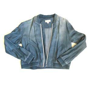Cloth & Stone denim bomber zip up jacket